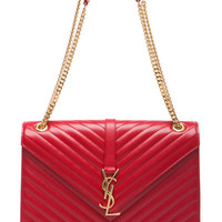 SAINT LAURENT Large Monogramme Chain Bag in Lipstick Red