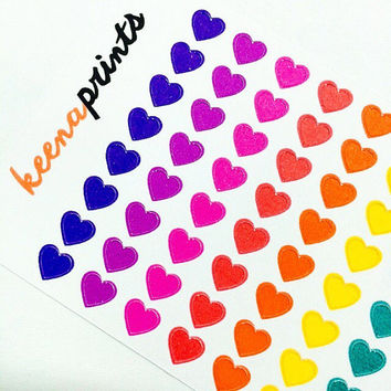 96 COLORFUL HEARTS Stickers Perfect for Erin Condren Life Planner, Filofax, Plum Paper & other planner or scrapbooking
