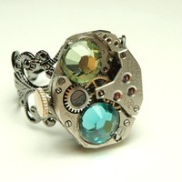 steampunk victorian ring steampunk watch movement rings by keoops8