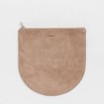 Large Leather Pocket Pouch Dune Suede