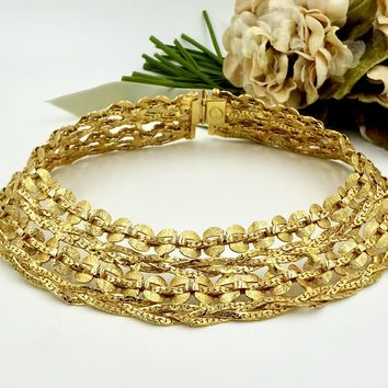 Vintage William DeLILLO GOLD CHOKER NECKLACE Gold Tone Textured Multi Stand Choker Collar Couture Necklace