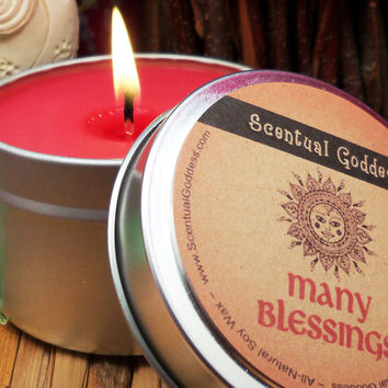 MANY BLESSINGS Abundance Candle - Home Blessing Wishes For Health Wealth Love Joy & Peace