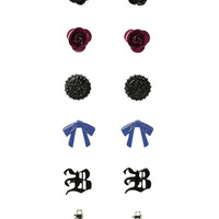 Black Butler Earring Set 6 Pair