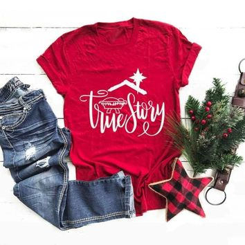 True story Girl Gift Christmas T-Shirt Red Clothing Harajuku Letter Tops Slogan Graphic Aesthetic Holiday Tee goth Camisetas