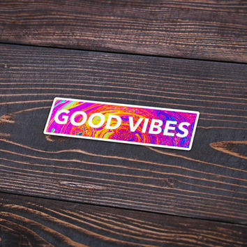 "Good Vibes In Color - Pack Of 3 - 5"" Long - Personalized Sticker - Die Cut"