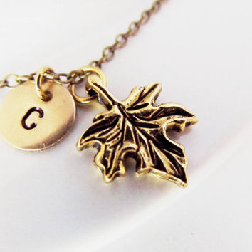 Maple leaf charm necklace initial necklace initial hand stamped necklace personalized necklace