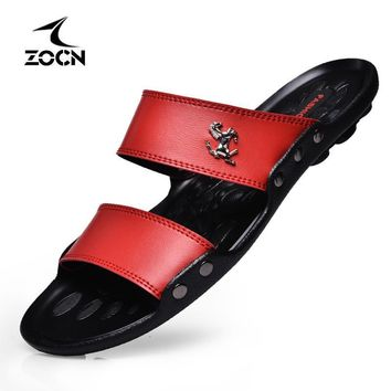 ZOCN Hot Sale Sandals Men Shoes Summer Slippers Men PU Leather Sandals Black Beach Slippers 2016 Sandalias Hombre