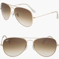 RAY BAN AVIATOR RB3025 Sunglasses - Gold/Brown 001/51 (Medium (58mm))