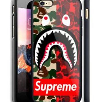 Top Red Camo Supreme Bape Fit Hard Case For iPhone 6 6s Plus 7 8 Plus X Cover +
