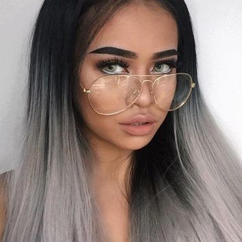 Classic Retro Large Clear Lens Gold Metal Frame Eyeglasses Glasses