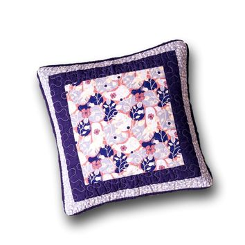 "DaDa Bedding Set of 2 Cherry Blossom Floral Patchwork Purple Throw Pillow Covers, 18"" - Designed in USA (JHW877)"