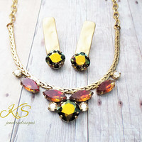Vintage Modern, Swarovski Necklace, Bridal, Antique Gold, Vintage Navettes, Adjustable,DKSJewelrydesigns, FREE SHIPPING