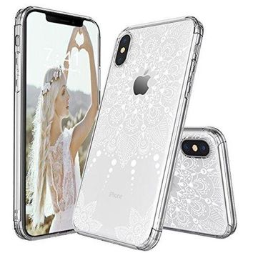 VONW3Q iPhone X Case, iPhone X Clear Case, MOSNOVO White Henna Mandala Lace Floral Clear Design Printed Transparent Plastic Back Case with TPU Bumper Protective Case Cover for iPhone X / iPhone 10