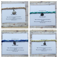 Wish Bracelet Charm Bracelet Friendship Bracelet Kumihimo Bracelet Good Luck Jewelry Bridesmaid Gifts Charms Make a Wish quote jewelry card
