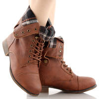 Smart-1 Military Lace up Fold-able Ankle Bootie Mid Knee Combat Boots