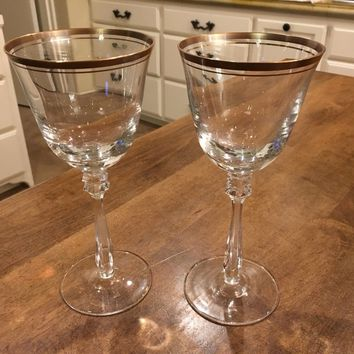 "Set of 2 - Mikasa Wheaton 8.25"" Crystal Wine Goblets Glasses Gold Rim Germany"
