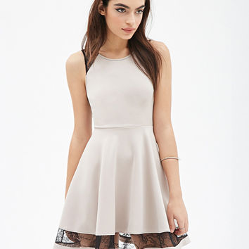 Lace Embroidered Sleeveless A-Line Mini Skater Dress