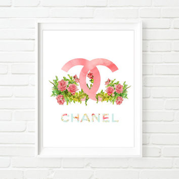 Chanel Logo Roses Floral artwork. Beautiful high fashion wall art. Modern Home Décor.