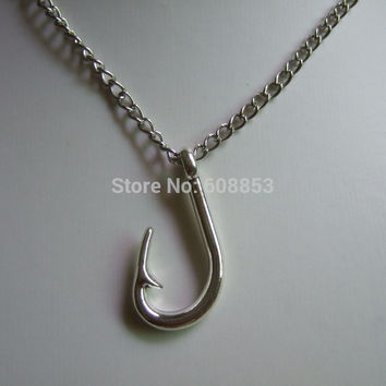 Silver Fish Hook Pendant Chain Necklace