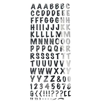 Alphabet Letters Caps Fancy Foil Stickers, Silver, 3/4-Inch, 107-Count