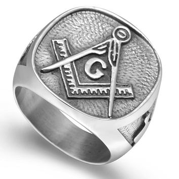 Silver Tone Stainless Steel Masonic Signet Ring