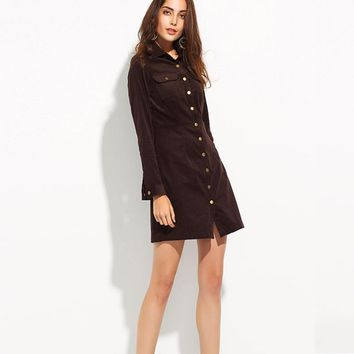 Brown Corduroy Button Up Military Dress