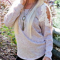 pre-order sweet me crochet lace , oatmeal sweatshirt sweater knit knitted knits boho bohemian gypsy hippie southern belle country girl style