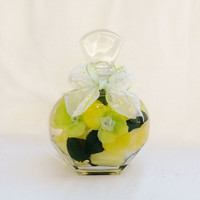 Decorative Silk Floral Bottled Bouquet Embellishment, Silk Floral Arrangement, Centerpiece, Flowers in a Bottle, Flower Gifts, Floral Decor