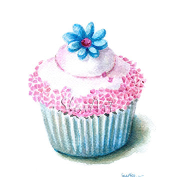 Blue flower Sweet Cupcake Still Life Print Watercolor Painting Fine Art Food Art Home Decor Realistic Kitchen art Illustration
