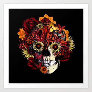 Full circle...Floral ohm skull Art Print by Kristy Patterson Design