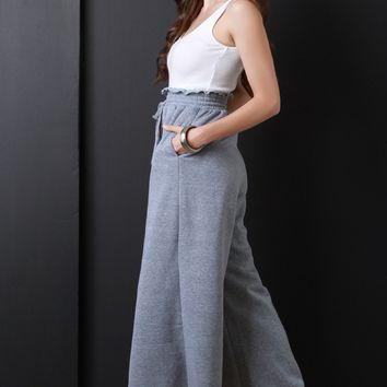 Ribbed Knit Twofer Palazzo Jumpsuit