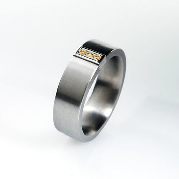 Orange diamond wedidng ring, titanium band, men's diamond ring, orange wedding, white gold ring, men titanium band, modern, commitment
