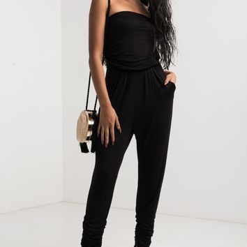 AKIRA Strapless Elasticated Neckline Ruched Pocket Jumpsuit in Black