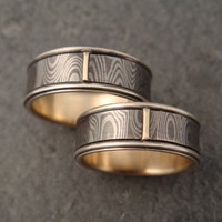 14k Palladium White Gold and Sterling Silver Mokume Wedding Band Set