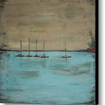 Sunset Boats Canvas Print / Canvas Art By Ben Gertsberg