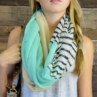 Land's End Striped Color Block Infinity Scarf Mint