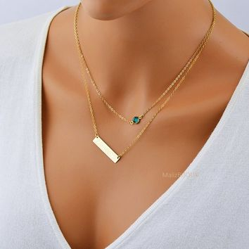 Layered Bar Necklace with Birthstone / Layer Necklace Gold or Silver / Double Necklace / Layering Necklace Bar / Personalized Big Bar