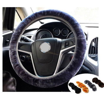Car Accessory Soft Plush Car Auto Steering Wheel Cover Solid Winter Grips
