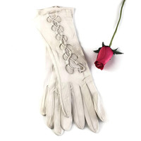 Exceptional French Leather White Lace Up Gloves Size 7