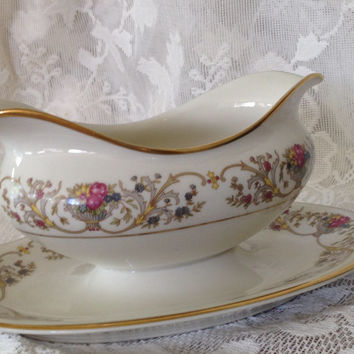 Lamberton Ivory China Dorothea Pattern Gravy Boat Attached Underplate Gold Trim 1950s Replacement Discontinued
