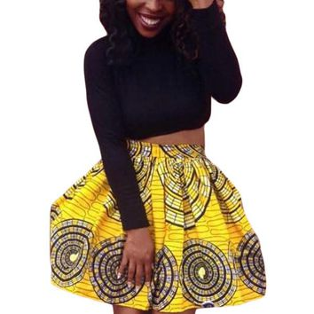 Yellow Circled Print Skater African Style Mini Skirt