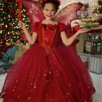 Fashion two pieces girls capes lace red applique girls party dresses age 3 to 10 years old