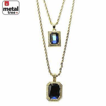 "Jewelry Kay style 14k Gold Plated Double Blue Ruby 22""&27"" Combo Pendant Chain Necklace MHC 216 G"