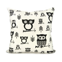 owl pillow case Black owl and arrow printed by ClassicByNature