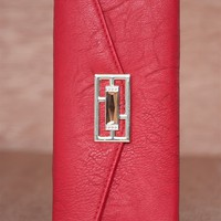 Lucky 21 Textured Faux Leather Jewel Emblem Trifold Wallet - Red