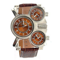 Oulm 1167 Waterproof Men's Three Time Display Sports  Watch with PU Band (Brown)