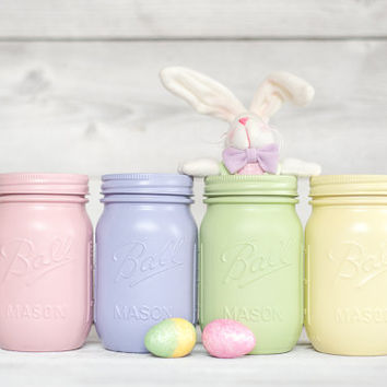 Spring color painted mason jars Easter decor pink and purple baby shower Nursery decor table centerpieces pastel decor