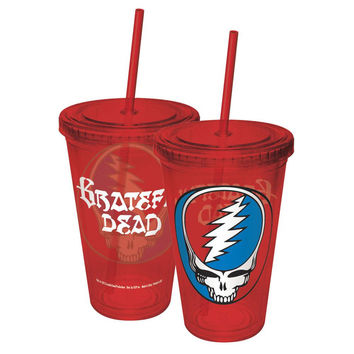 Grateful Dead - Steal Your Face Colored Acrylic Tumbler With Straw