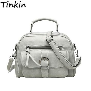 Tinkin Scrub Women Bag Fashion Shoulder Bag Casual Simple Tote Fresh Cherry Female Messenger Bag Matte Leather Female Handbag