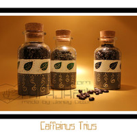 Caffeinus Trius - Handpainted Tea canister & Coffee canister, Storage jar.